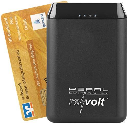 reVolt Powerbank Kreditkarte: USB-Powerbank PB-210 mit 10.000 mAh, 2 USB-Ports, 2,4 A, 12 Watt (Powerbank Kreditkartenformat)