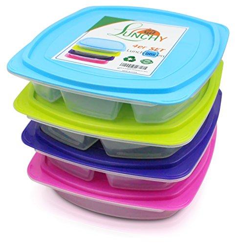 LUNCHY Lunchbox-Set 4 Stück Bento Box Brotzeitbox Kinder auslaufsicher Brotzeitdose Kinder Meal-Prep Boxen Lunch Box mit 4 Fächern mit Trennwand für Kinder und Erwachsene
