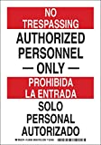 Brady 124012 Bilingual Sign, Legend'Authorized Personnel Only/Solo Personal Autorizado', 14' Height, 10' Width, Black and Red on White