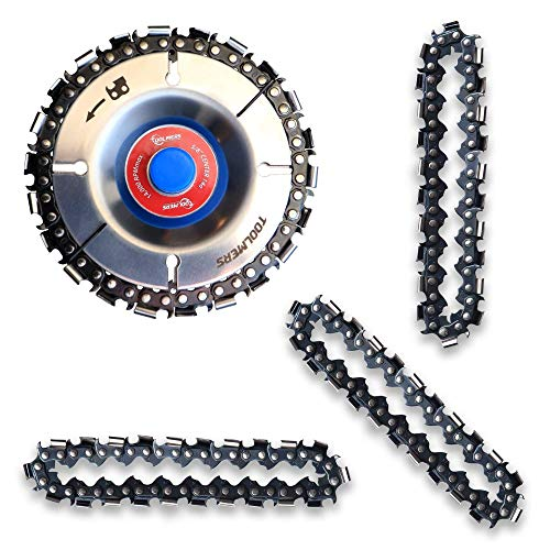 TOOLMERS Wood Carving Chain Disc with 3 PCS of Extra Circlets, 5/8' Arbor, Compatible with All 4 Inch Angle Grinders, 4 Inch, 22 Teeth Saw Blade, Cutting, Grinding, Shaping Chainsaw Wheel