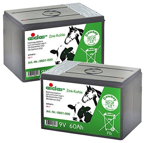 Eider Sparpack: 2X 9V Zink Kohle Trockenbatterie 60 AH - Elektrozaun Batterien für 9 Volt Geräte