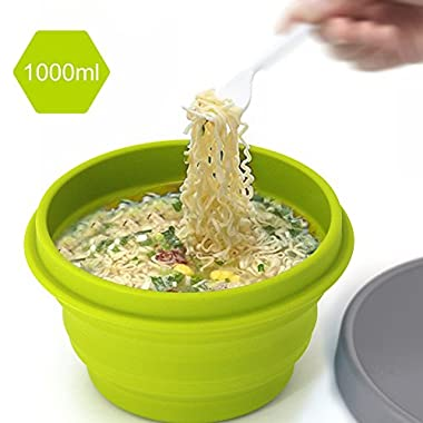 LAOPAO Collapsible Camping Bowl 1000 ML Outdoor Silicone Travel Bowl for Hiking,Travelling, Food-Grade, Space-Saving