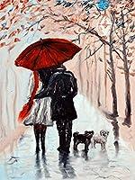 Diy油絵 ストリートカップル 数字キットによる絵画手塗り Diy絵 デジタル油絵塗り絵 キッズバースデーギフト (フレームなし)40X50 Cm