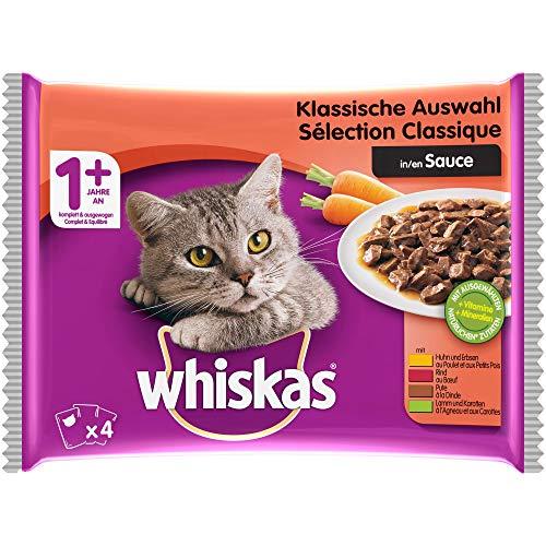 Whiskas Sélection Classique en Sauce – Nourriture humide pour chat adulte 1+ Ans – Alimentation complète en sachets fraîcheur - 13x(4x100g)