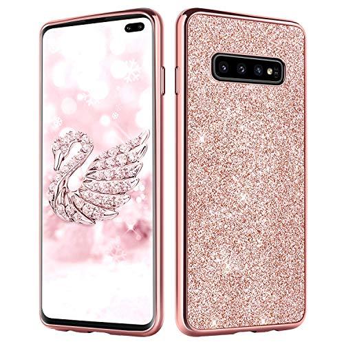 DUEDUE Samsung Galaxy S10 Plus Hülle, Samsung S10 Plus Handyhülle Slim Case PC Schale Hardcase Dünn Schutzhülle [Glänzendes Design] Glitzer Bling Hülle für Samsung Galaxy S10 Plus / S10+ Rosa Gold