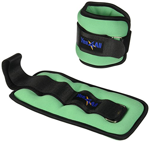 Yes4All Set of 2 Ankle Weights / Wrist Weights with Adjustable Strap - Perfect for Walking, Fitness, Cardio Exercise (3 lbs, Lime Green)
