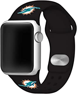Game Time Miami Dolphins Silicone Sport Band Compatible with Apple Watch - Band ONLY (42mm/44mm)