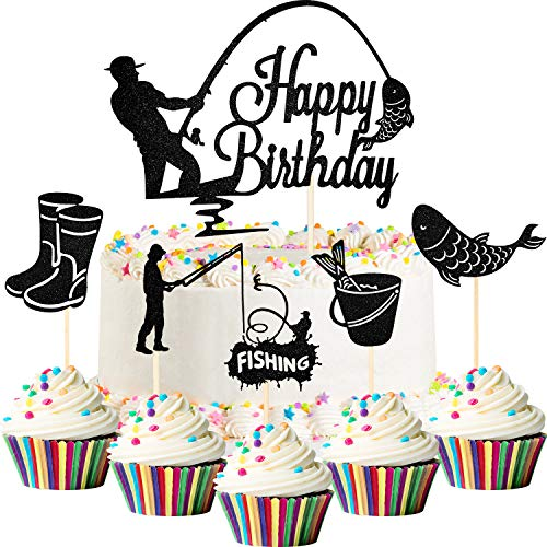 Fishing Cake Topper and Cupcake Decorations - 41 Pieces