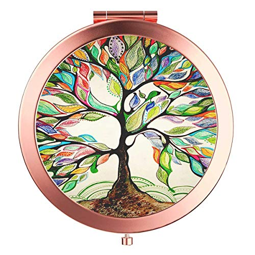 Rose Gold Travel Purse Mirror Compact Double Sides 2x & 1x Magnification Hand Mirror Metal Round Bohemian Mirror for Women and Girls-Life Tree