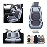 Fabric Wool Like Cloth Car Seat Covers, Linen Automotive Vehicle Cushion Cover for Cars SUV Pick-up Truck Universal Fit Set for Auto Interior Accessories (OS-013 Full Set, Grey)