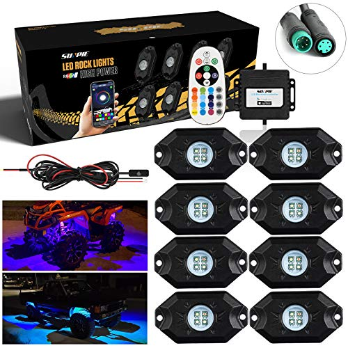 SUNPIE 8 Pods RGBW LED Rock Lights with Phone App/Remote Control & Timing & Music Mode & Flashing & Automatic Control & Color Multicolor Underglow Neon Lights for Jeep Off Road Truck SUV ATV UTV Boat