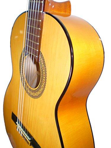 MARCE FLAMENCO 1 - Guitarra Clasica española de estudio + Funda (caja armónica de sicomoro, diapasón madera tintado, dos perfiles tintados en negro, acción baja. Tamaño adulto)