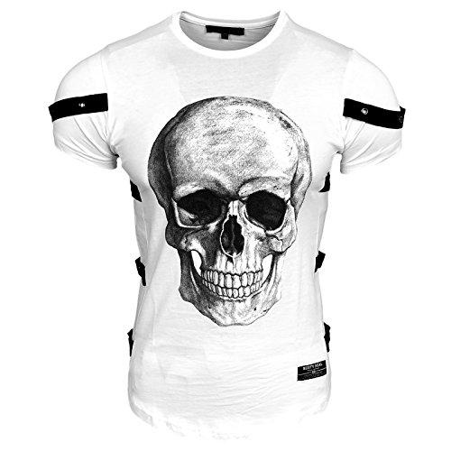 Rusty Neal Herren T-Shirt Rundhals Totenkopf Skull Applikationen RN-15150, Größe:L, Farbe:Weiß