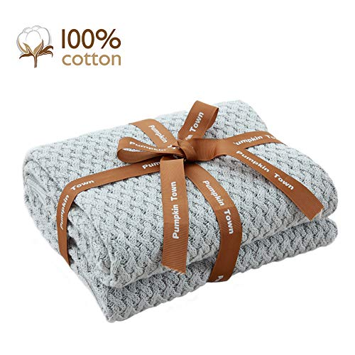 "Pumpkin Town Gray 100% Cotton Cable Knit Winter Christmas Throw Blanket for Soft Sofa, Chair, Couch, Picnic, Camping, Beach, Home Decorative Knitted Blanket, 50""x 60"""