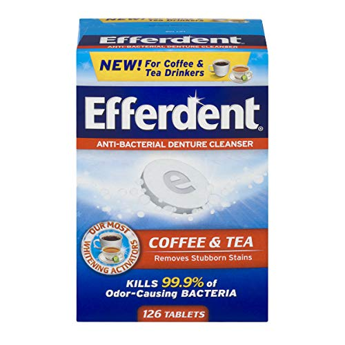 Efferdent Denture Cleanser Tablets, Coffee & Tea, 126 Tablets