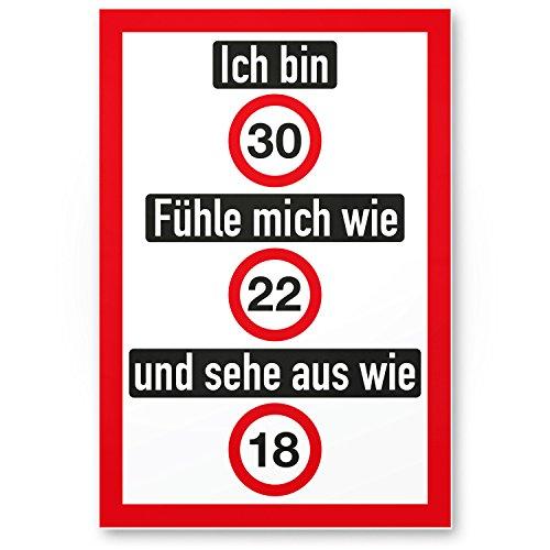 DankeDir! Ich Bin 30 Jahre (nett), Kunststoff Schild - Geschenk 30. Geburtstag, Geschenkidee Geburtstagsgeschenk Dreißigsten, Geburtstagsdeko/Partydeko/Party Zubehör/Geburtstagskarte