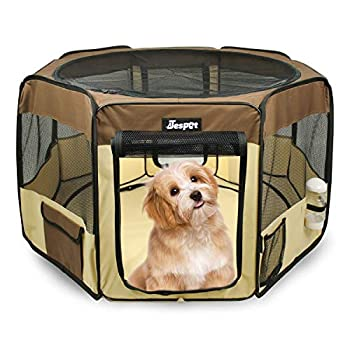 JESPET 45  Pet Dog Playpens Portable Soft Dog Exercise Pen Kennel with Carry Bag for Puppy Cats Kittens Rabbits Brown