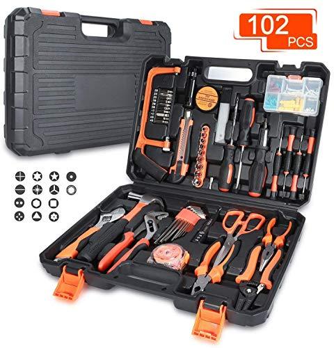 Universal Werkzeugkoffer 102-teilig Haushalts-Metallkiste Werkzeug mit Griff für Home Cordless Repair Kit Tool Set