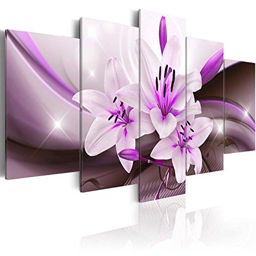 murando - Cuadro en Lienzo Flores Lirios 200x100 cm Impresión de 5 Piezas Material...
