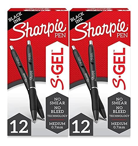 S-Gel, Gel Pens, Medium Point (0.7mm), Black Ink Gel Pen, 2 Set of 12 Count