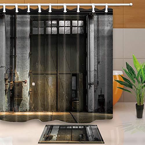 mintlmk houten deur Decor industrieel interieur van een oude fabriek gebouw 71X71in polyester stof douchegordijn pak met 15.7x23.6in flanel anti-slip vloer deurmat bad tapijten