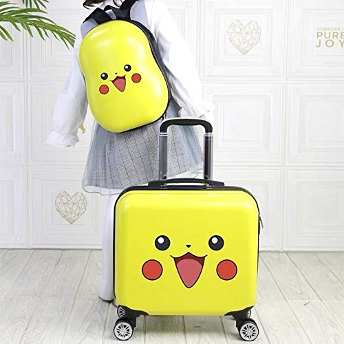 Mdsfe Travel suitcase with wheels trolley luggage set 18 '' kids Cartoon carry on suitcase cabin luggage children's gift backpack girls - 2pcs set