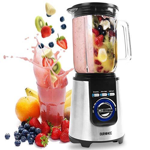 Duronic BL1200T elektrischer Standmixer 1200 W | Hochleistungsmixer | Smoothie Maker | Edelstahl | 1,8L Tritan | Ideal für Smoothies, Frappe, Lassi, Cocktails, Fitnessdrinks, Obst, Gemüse