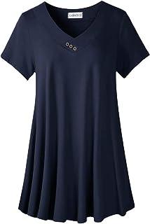 LARACE Women's Plus Size Tunic Tops Short Sleeve V Neck Blouses Basic T Shirt