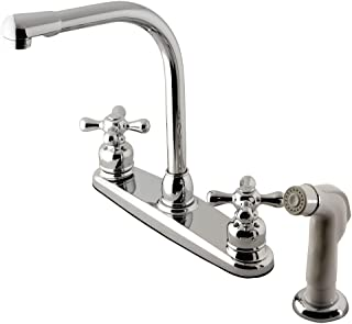 Kingston Brass KB711AX Victorian High Arch Kitchen Faucet with Sprayer, 7-Inch, Polished Chrome