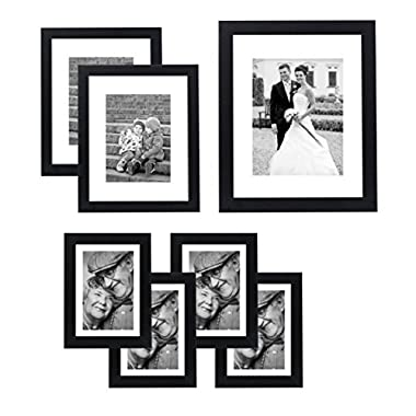 Americanflat 7 Pack Gallery Wall Set - Includes: 11x14 Inch with 8x10 inch matte opening, Two 8x10 inch with 5x7 matte openings, Four 5x7 inch with 4x6 inch matte opening