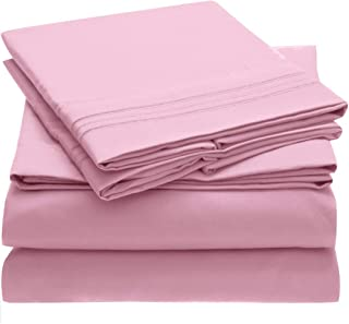 Mellanni Bed Sheet Set Brushed Microfiber 1800 Bedding - Wrinkle, Fade, Stain Resistant - Hypoallergenic - 4 Piece (Full, Pink)
