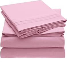 Mellanni Bed Sheet Set Brushed Microfiber 1800 Bedding - Wrinkle, Fade, Stain Resistant - Hypoallergenic - 4 Piece (King, Pink)