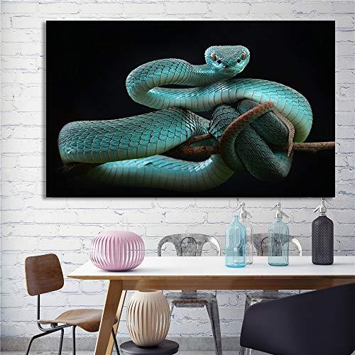 wZUN Cartel de Serpiente Azul Impresiones de Lienzo de Animales nórdicos Pintura Negra Pared de Serpiente Cuadros Decorativos de Arte de Pared 60x80 Sin Marco