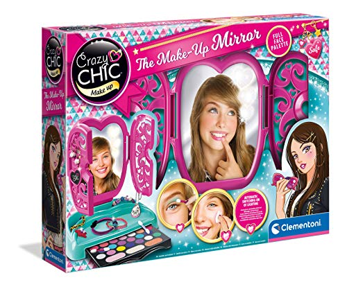 Clementoni 18541 Crazy Chic – Spiegel-Schminkkasten, buntes Make-up Set mit glitzerndem Lidschatten, Rouge & Lipgloss, beleuchteter Kosmetiktisch für Kinder ab 6 Jahren