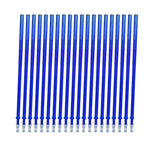 Kstyhome 20 piezas de tinta azul recarga de tinta de gel borrable para bolígrafos de punta fina 0,5 mm recargas de bolígrafo de gel de repuesto para bolígrafos borrables suministros de papelería