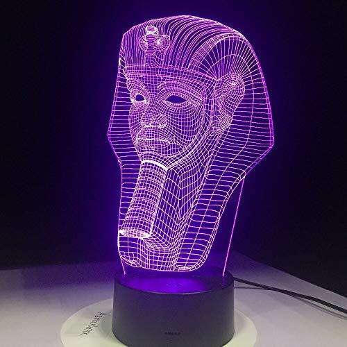 Solo 1 pieza Egipto Faraón Forma 3D Ilusión LED Luz de noche Luz Colores Lámpara de mesa USB LED Regalo clásico Rápido