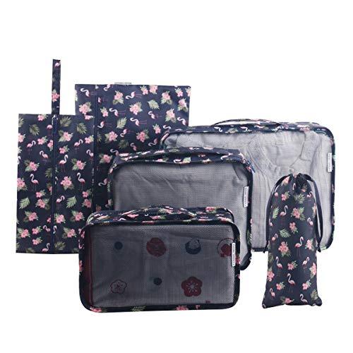 Tuscall Set di 6 Cubo di Viaggio per i bagagli, Organizer Valigia, Cubi da Imballaggio - Perfetto di Viaggio Dei Bagagli Organizzatore (Flamingo)