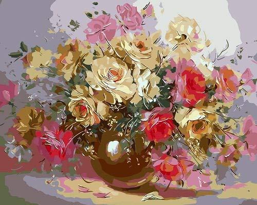 Adultos colorear por números flor DIY sin marco arte de la pared pintura acrílica pintura al óleo por números florero decoración del hogar A9 40x50cm