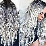 Peluca natural completa de 28 pulgadas gradiente gris largo ondulado peluca sintética resistente al calor peluca de onda natural para uso diario