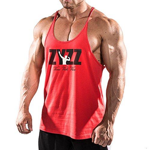 Alivebody - Camiseta de tirantes para hombre, sin mangas, para el gimnasio, de culturismo, Todo el año, Estampado., Sin mangas, Hombre, color rojo, tamaño Small