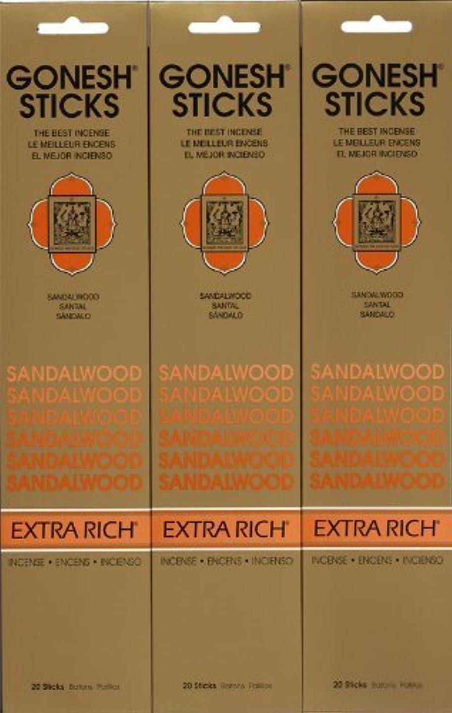 眩惑する終わり醜いGONESH SANDALWOOD サンダルウッド 20本入り X 3パック (60本)