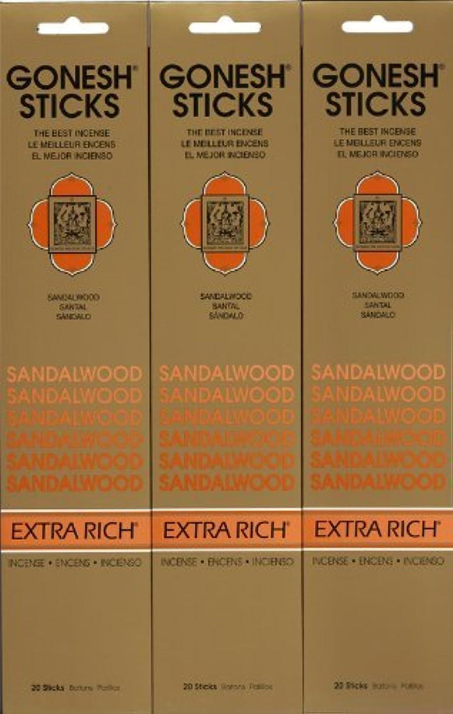 手当ポンドジャンルGONESH SANDALWOOD サンダルウッド 20本入り X 3パック (60本)