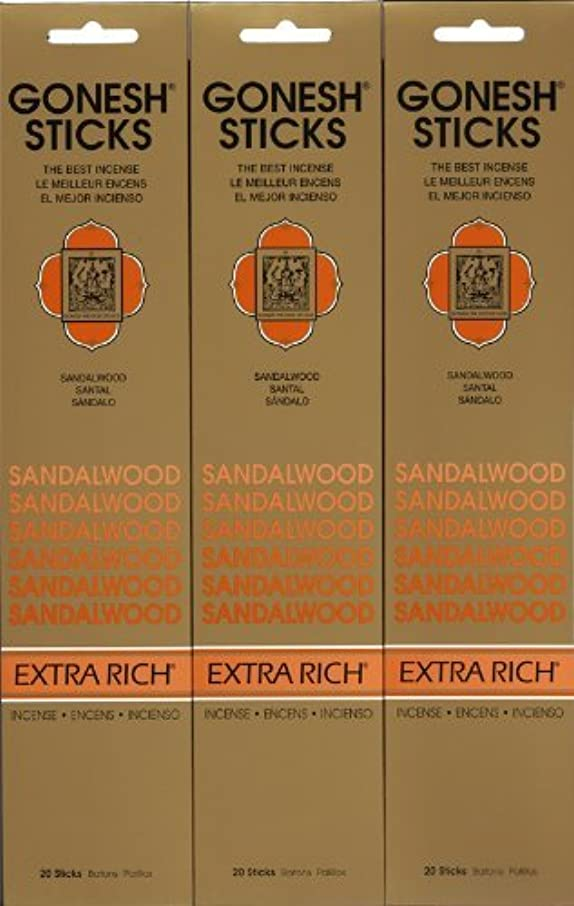シリング故意の威するGONESH SANDALWOOD サンダルウッド 20本入り X 3パック (60本)