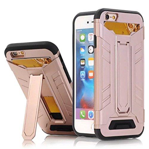 Igoukj - Carcasa para iPhone 6 (plástico duro, con función atril, incluye tarjetero, soporte oculto, para iPhone 6 o 6S, 4,7 pulgadas), color plateado