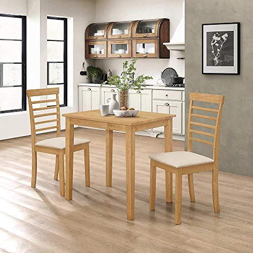Juego de Mesa de Comedor/Cocina pequeña de Madera Maciza y 2 sillas en Acabado Roble