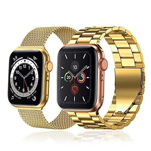baklon 2 pezzi compatibile con cinturino Apple Watch 42mm 44mm, cinturino in acciaio inossidabile di ricambio sportivo compatibile con iWatch series SE/6/5/4/3/2/1