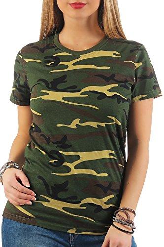 Happy Clothing Damen Camouflage T-Shirt Army Armee Bundeswehr Tarnfarben Grün, Größe:M, Farbe:Camouflage