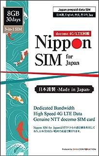 【Amazon.co.jp 限定】Nippon SIM for Japan プリペイドデータSIM(標準版)/ 30日間 8GB (8GBは高速4G/LTEデータ、越えると30日目の24時まで無制限 384kbps) / 純正docomo (標準/マイクロ/ナノ) SIMカード/ データ通信専用 (SMS&音声非対応) / シムフリー & docomo端末対応/ クレジットカード・契約不要/ 多言語マニュアル付/ 安心国内メーカーサポート(日本語、英語、中国語) / Genuine docomo 3-in-1 prepaid Data SIM card, first 8GB 4G/LTE data, then 384kbps till end of 30th day, multi-language manual, English supports, no registration needed/ 日本docomo 原生卡, 30天, 頭8GB為4G/LTE後384kbps速度吃到飽, 在日原廠中文客服