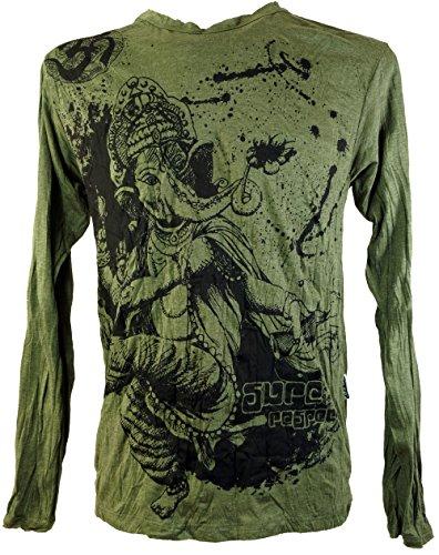 GURU SHOP Sure Langarmshirt, Herren, Ganesh Olive, Baumwolle, Size:S, Bedrucktes Shirt Alternative Bekleidung