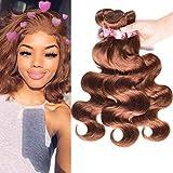 Brazilian Body Wave Human Hair 3 Bundles 12 12 14 Remy Hair Weaves Extensions #30 Light Auburn Brown Color